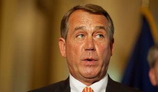 Speaker of the House John A. Boehner, Ohio Republican, talks Tuesday about the budget proposed by Rep. Paul Ryan, Wisconsin Republican, who chairs the House Budget Committee. (Rod Lamkey Jr./The Washington Times)