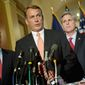 BLUEPRINT: House Speaker John A. Boehner, flanked by House Majority Leader Eric Cantor (left) and Majority Whip Kevin McCarthy talks with reporters after the 2012 budget outline. (Rod Lamkey Jr./The Washington Times)