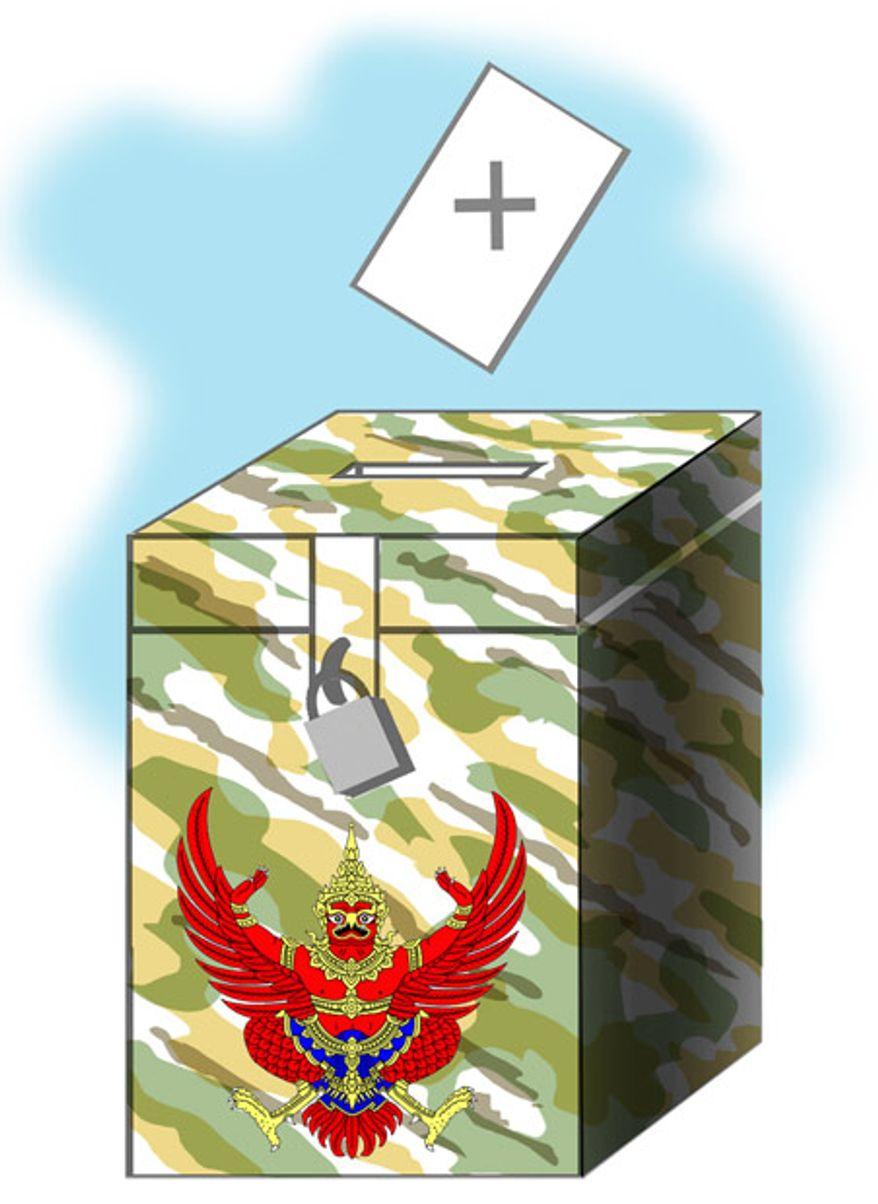 Illustration: Thai vote by Alexander Hunter for The Washington Times