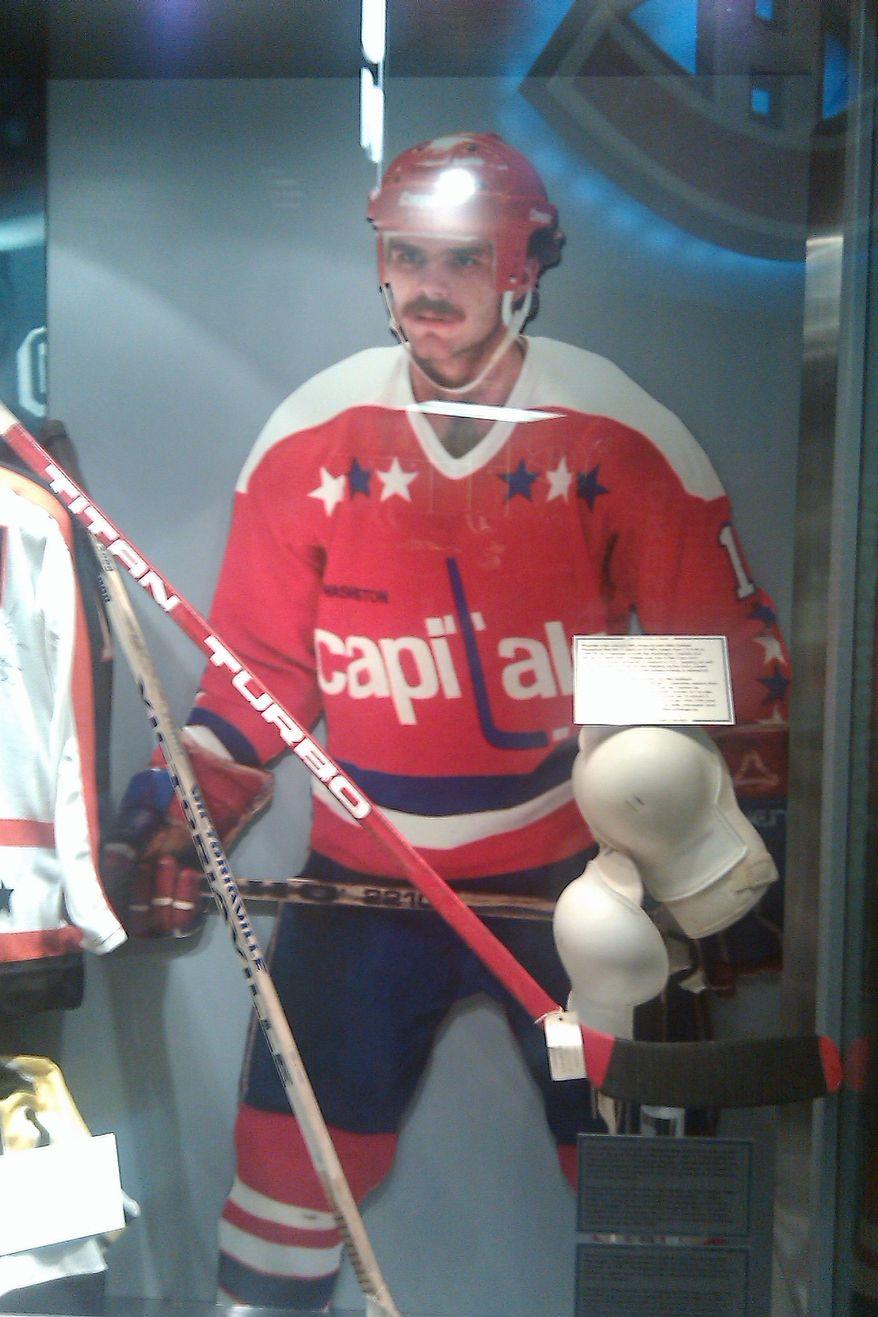 Mike Gartner display at the Hockey Hall of Fame in Toronto, Ontario. (Stephen Whyno, The Washington Times)