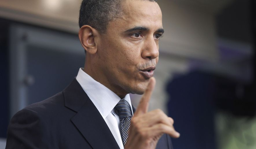 President Obama speaks about a possible government shutdown this week during a press conference at the White House in Washington on Tuesday, April 5, 2011. (AP Photo/Charles Dharapak)