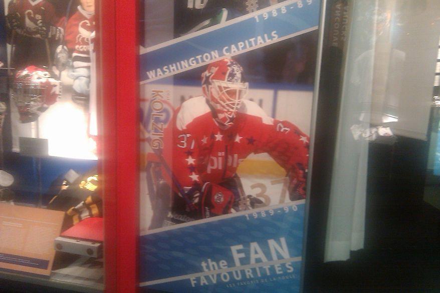 Olaf Kolzig display at the Hockey Hall of Fame in Toronto, Ontario. (Stephen Whyno, The Washington Times)