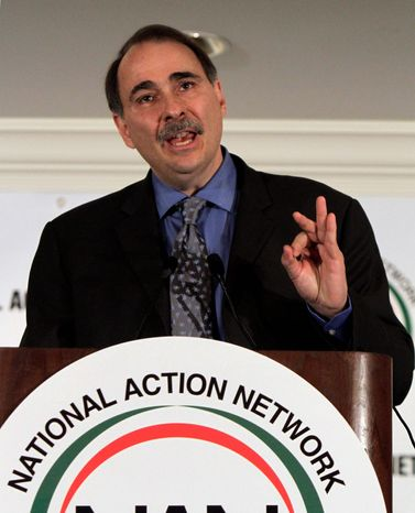 ** FILE ** David Axelrod, President Obama's chief strategist, speaks on Wednesday, April 6, 2011, at the 13th annual National Action Network conference in New York. (Associated Press)