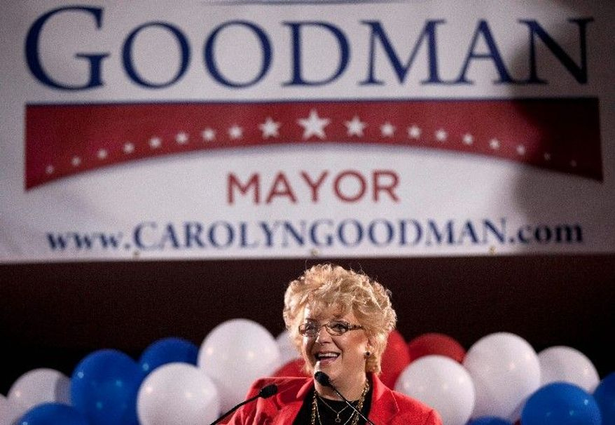 Carolyn Goodman led the field in Tuesday's primary to replace her husband, Oscar, as mayor of Las Vegas. She and runner-up Chris Giunchigliani, a Clark County commissioner, will face off in the June 7 general election. (Associated Press)