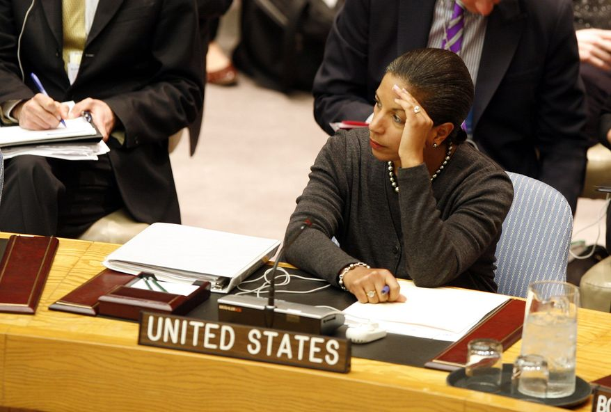 """""""We're not pretending anything. We're very clear,"""" Susan Rice, the U.S. ambassador to the United Nations, said on Capitol Hill on Wednesday. """"We'd rather be in there and call foul when that is appropriate and stand up for the principles and values that Americans hold dear and make important progress where progress can be made."""" (Associated Press)"""