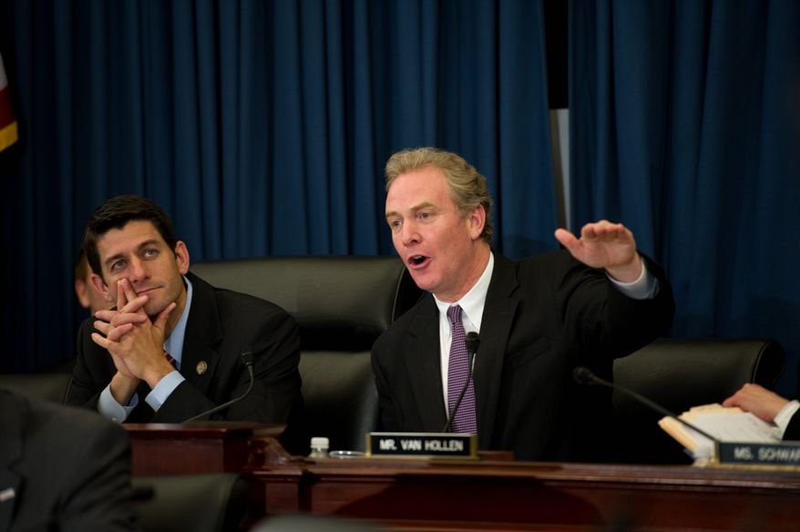 The 2012 budget proposed by House Budget Committee Chairman Paul Ryan, Wisconsin Republican, (left next to Rep. Chris Van Hollen, Maryland Democrat) includes additional billions of dollars for defense but at a slower rate of growth. (Rod Lamkey Jr./The Washington Times)