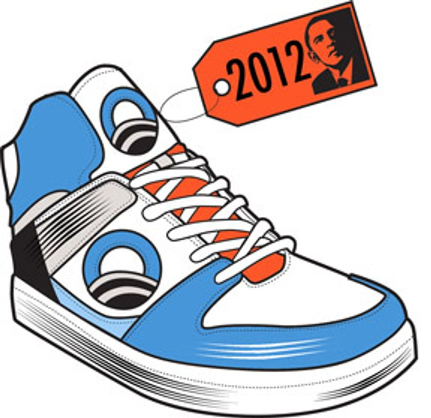 Illustration: Obama race 2012 by Linas Garsys for The Washington Times
