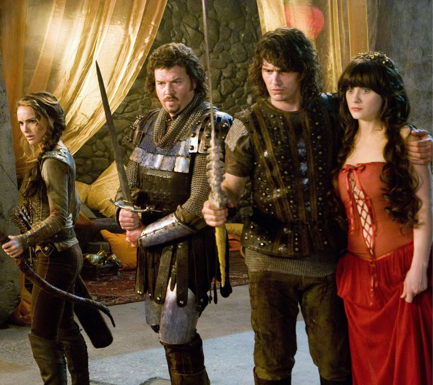 "From left, Natalie Portman, Danny McBride, James Franco and Zooey Deschanel star in director David Gordon Green's fantasy-comedy ""Your Highness."" (Associated Press)"