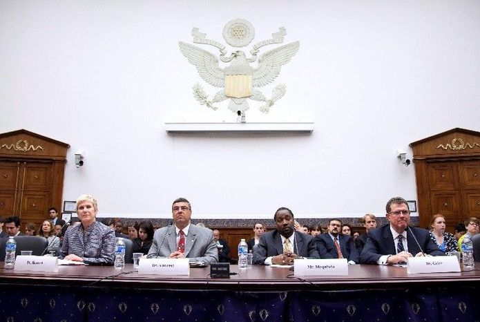 "From left, Janet Barresi, Oklahoma superintendent of public instruction; Gary Amoroso, Lakeville, Minn., schools superintendent; Yohance Maqubela, CFO of Howard University Middle School of Math and Science; and Terry Grier, superintendent of Houston Independent School District, testify Thursday before a House panel on education reform. Mr. Grier said that lawmakers must find a ""careful blend of accountability with flexibility"" in those reforms. (Associated Press)"