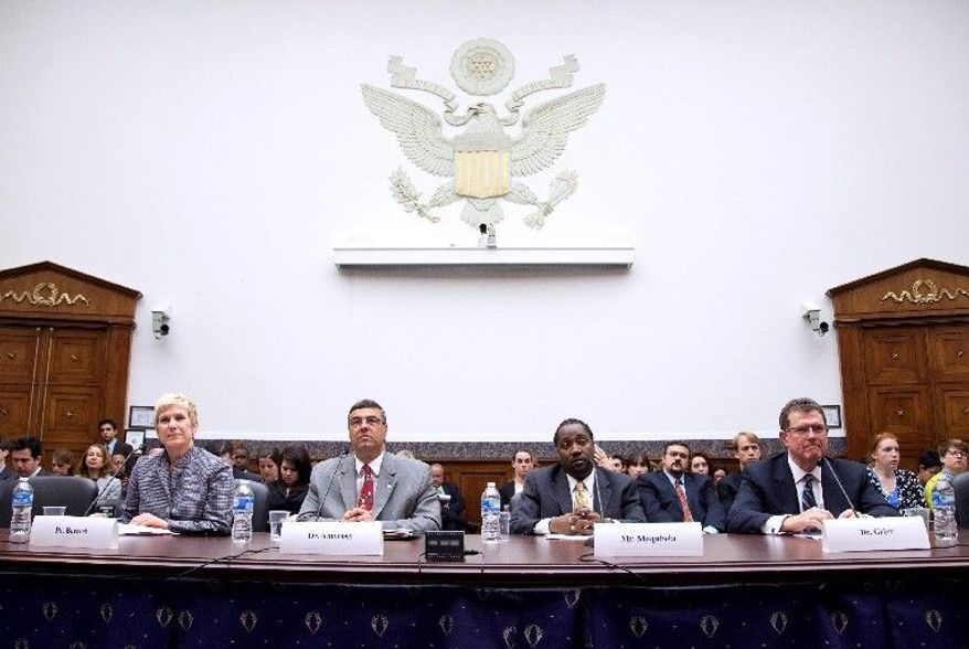 """From left, Janet Barresi, Oklahoma superintendent of public instruction; Gary Amoroso, Lakeville, Minn., schools superintendent; Yohance Maqubela, CFO of Howard University Middle School of Math and Science; and Terry Grier, superintendent of Houston Independent School District, testify Thursday before a House panel on education reform. Mr. Grier said that lawmakers must find a """"careful blend of accountability with flexibility"""" in those reforms. (Associated Press)"""