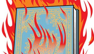 Illustration: Koran burning by Linas Garsys for The Washington Times