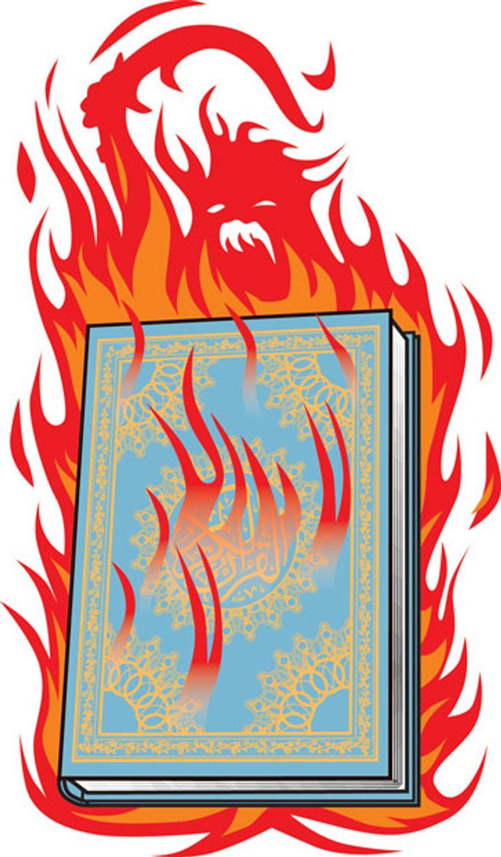 Illustration: Koran burning by Linas Garsys for The Washington Times
