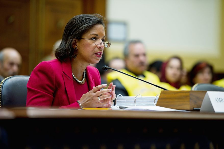 """U.S. Ambassador to the U.N. Susan Rice told the House Foreign Affairs Committee on Thursday that the """"Libya mission is not one that falls under U.N. accounting or U.S. budgeting. It is something we are undertaking in a national capacity."""" (Rod Lamkey Jr./The Washington Times)"""