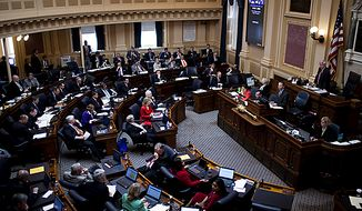 A view of the House Chamber during debate on the Republican sponsored state redistricting plan, during a House session at the Capitol, in Richmond, Va., Tuesday, April 5, 2011. (Drew Angerer/The Washington Times)