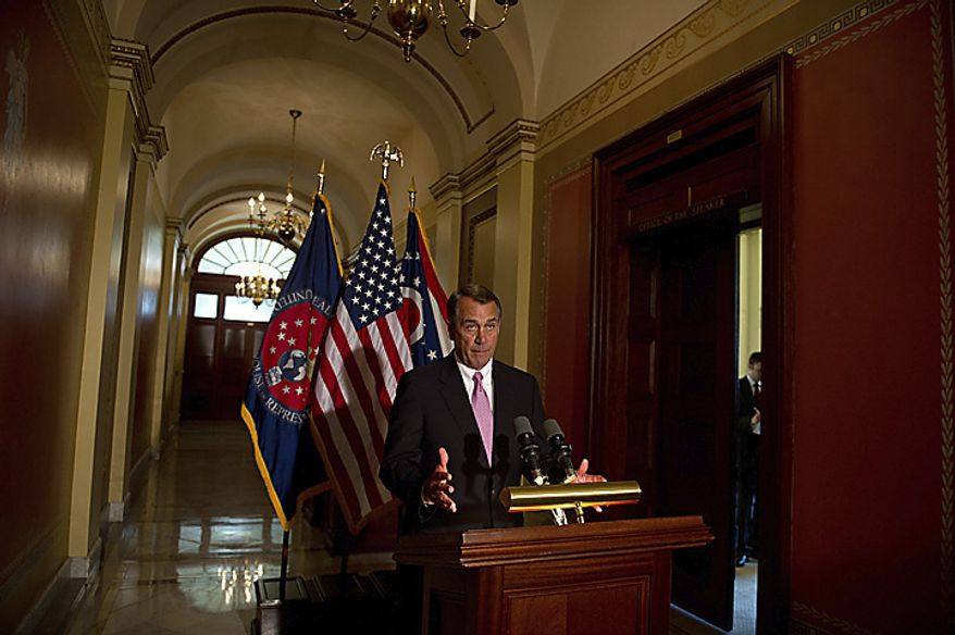 Speaker of the House Rep. John Boehner (R-OH) offers brief remarks to reporters outside of his office at the Capitol in Washington, D.C., Friday, April 8, 2011.(Rod Lamkey Jr./The Washington Times)