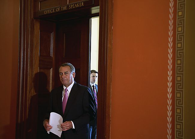 Speaker of the House Rep. John Boehner (R-OH) arrives to offer brief remarks to reporters outside of his office at the Capitol in Washington, D.C., Friday, April 8, 2011.(Rod Lamkey Jr./The Washington Times)
