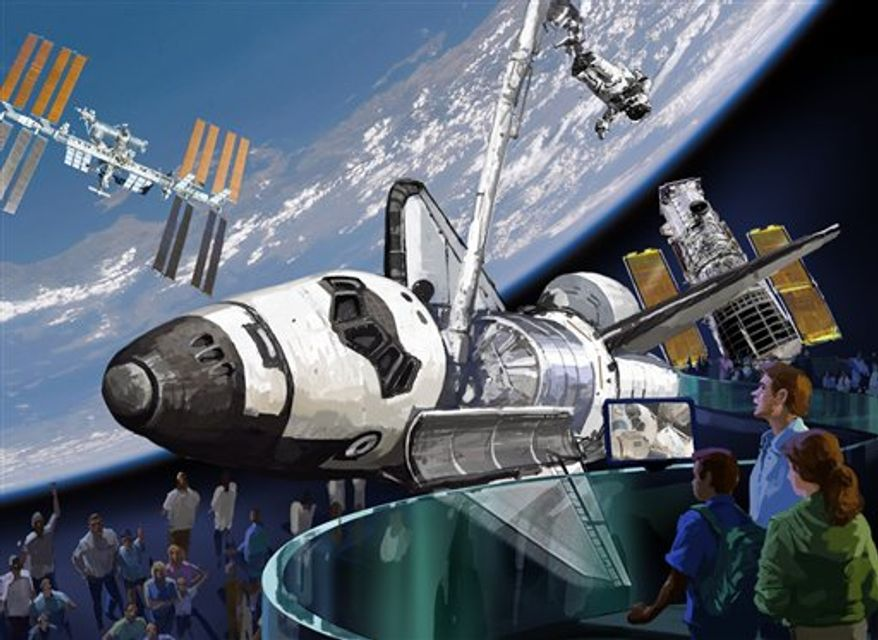 This image provided by the Intrepid Sea, Air & Space Museum on Thursday, April 7, 2011 shows a proposal for a space shuttle exhibit in New York.   Enterprise will go to New York City's Intrepid Sea, Air and Space Museum for display in a glass enclosure on a Manhattan pier on the Hudson River, next to the aircraft carrier that houses the museum.  (AP Photo/Intrepid Sea, Air & Space Museum)