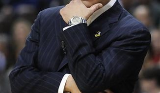 FILE - This March 17, 2011, file photo shows St. John's coach Steve Lavin during the first half against Gonzaga in a a Southeast regional second-round NCAA tournament college basketball game, in Denver. Lavin says he has prostate cancer. The 46-year-old coach says in a statement Friday, April 8, 2011,  he was diagnosed in September but was told he could delay treatment until after the season. He will undergo treatment in the coming weeks and says it will not affect his coaching.(AP Photo/Jack Dempsey, File)