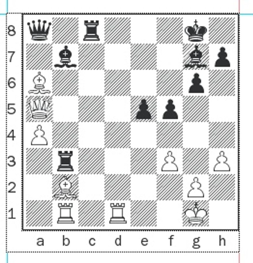 Bykhovsky-Gareyev after 29...Bb7.