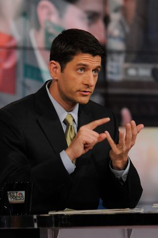 "Republican Budget Committee Chairman Paul Ryan, appearing on ""Meet the Press,"" says the White House needs to cut back on spending. (Associated Press)"