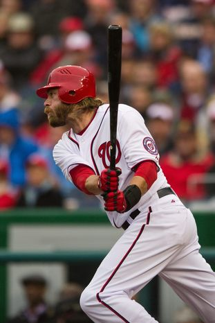 """DREW ANGERER/THE WASHINGTON TIMES Nationals right fielder Jayson Werth hit 36 home runs and collected 99 RBI, both career-bests, in leading Philadelphia to the NL championship in 2009. """"We did some great things for that organization, for that city,"""" he said."""