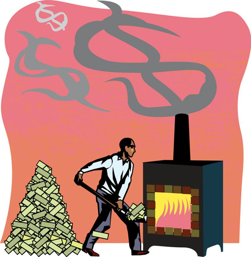 Illustration: Obama spending by Linas Garsys for The Washington Times