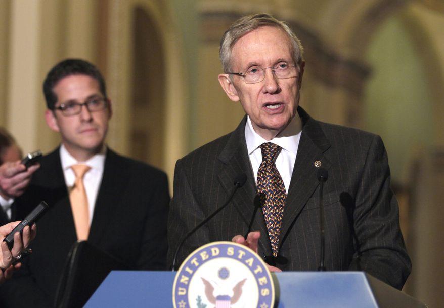 Senate Majority Leader Harry Reid of Nevada speaks to media Tuesday on Capitol Hill. (Associated Press)