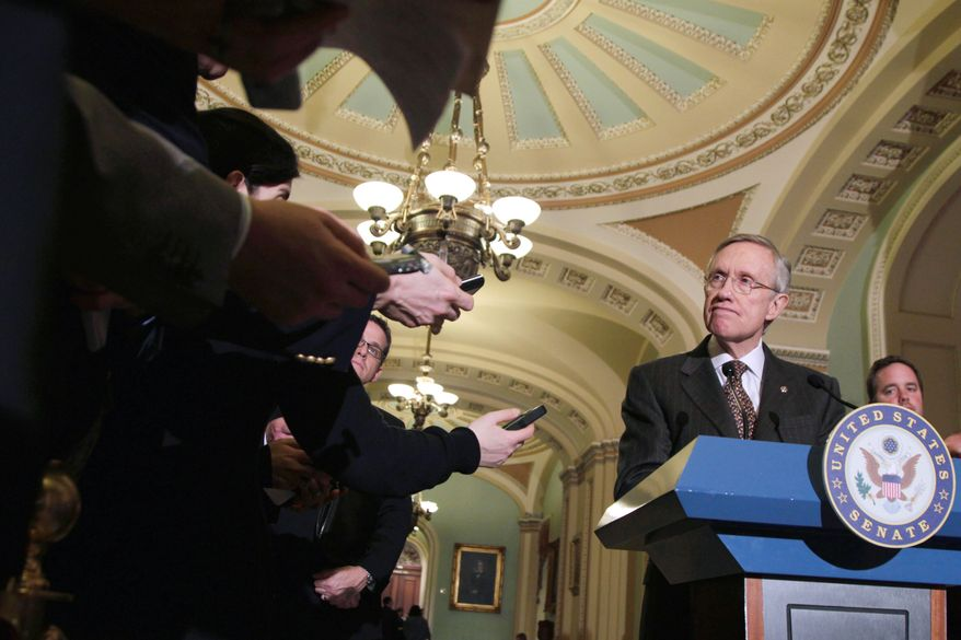 """We fought for cuts, but they had to be smart cuts, cuts that would strengthen our economy instead of weakening it,"" Senate Majority Leader Harry Reid, Nevada Democrat, told reporters Tuesday, referring to Friday night's bipartisan budget agreement. (Associated Press)"