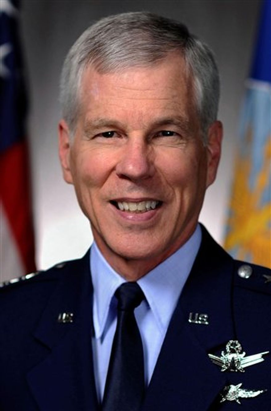 This undated photo provided by the U.S. Air Force shows Air Force Gen. William Shelton, the commander of Air Force Space Command, Peterson Air Force Base, Colo. Shelton addressed the National Space Symposium in Colorado Springs, Colo., on Tuesday, April 12, 2011. He said he expects no increases in his budget but said demands for such critical services as the military-run Global Positioning System won't decline. He told space contractors that the military and industry must find a way to contain costs, especially on launches. (AP Photo/U.S. Air Force)