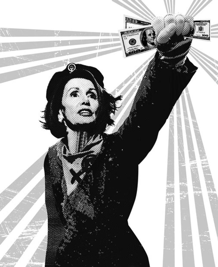 Illustration: Pelosi budget by Linas Garsys for The Washington Times