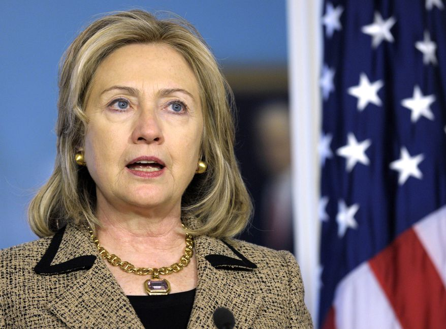 Secretary of State Hillary Rodham Clinton speaks during a news conference with Finnish Foreign Minister Alexander Stubb (not shown) on Monday, April 11, 2011, at the State Department in Washington. (AP Photo/Susan Walsh)
