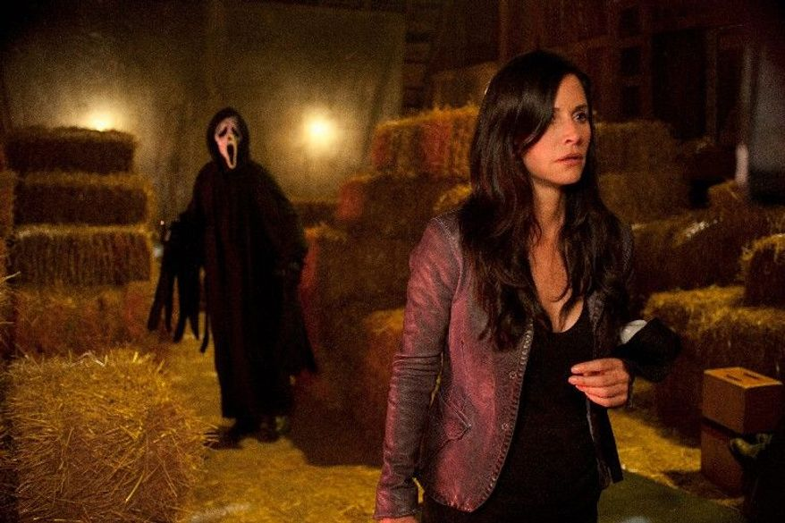 """Courteney Cox's former news reporter Gale Weathers-Riley is terrified by a new mask-wearing serial killer in Wes Craven's horror film """"Scream 4."""" Ms. Cox reunites with co-stars Neve Campbell and David Arquette in the sequel. (Associated Press)"""