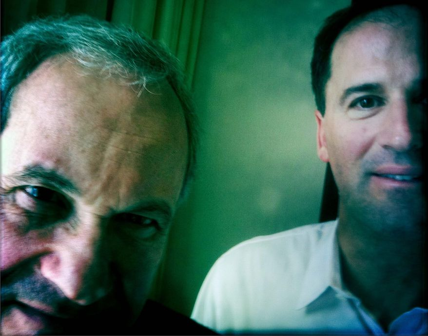 """** FILE ** John Aglialoro (left) and Harmon Kaslow produced """"Atlas Shrugged, Part One,"""" the first installment of a planned trilogy. The film, based on the Ayn Rand 1957 novel, opened in a limited release. Rand's ardent fans seem gratified by the mere existence of a decent-looking film faithful to the book's influential philosophy. (Rod Lamkey Jr./The Washington Times)"""