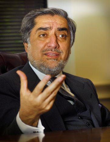 Abdullah Abdullah, the opposition leader in Afghanistan, says he will run again for the Afghan presidency in 2014. (J.M. Eddins Jr./The Washington Times)