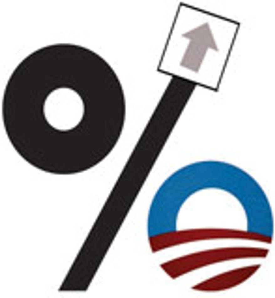 Illustration: Obama budget by Alexander Hunter for The Washington Times