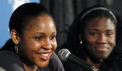 Minnesota Lynx first-round draft picks Maya Moore, left, and Amber Harris talk to reporters Tuesday, April 12, 2011, in Minneapolis, the day after the WNBA basketball draft. (AP Photo/Star Tribune, Jerry Holt)