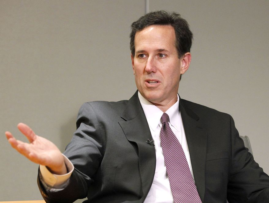 Former Pennsylvania Sen. Rick Santorum gives an interview to the Associated Press in Washington in December 2010. Mr. Santorum said on Wednesday, April 13, 2011, that he is forming a committee that will let him start raising money for a White House run. (AP Photo/Manuel Balce Ceneta)