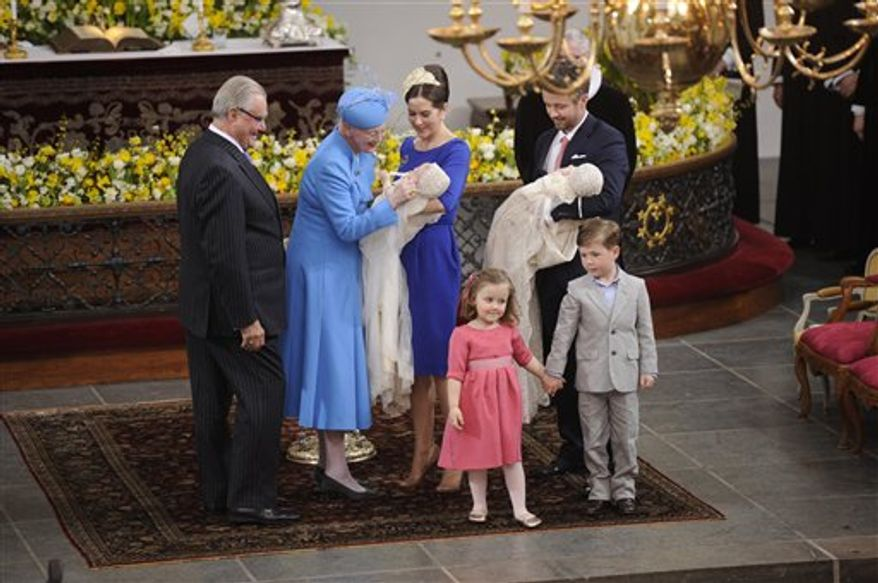 Danish Crown Prince Frederik and Princess Mary and their children, Prince Christian,  and Princess Isabella,  at the Copenhagen Navy Church, Holmens, Thursday, April 14 2011, during the baptism of their 3 month old twins.  Denmark's royal family has celebrated the baptism of baby twins Prince Vincent Frederik Minik and Princess Jospehine Sofie Ivalo Mathilda. In line with royal tradition, the names remained secret until Thursday's ceremony at the Holmen church in downtown Copenhagen. (AP Photo/Tariq Mikkel Khan/Polfoto, Pool) DENMARK OUT
