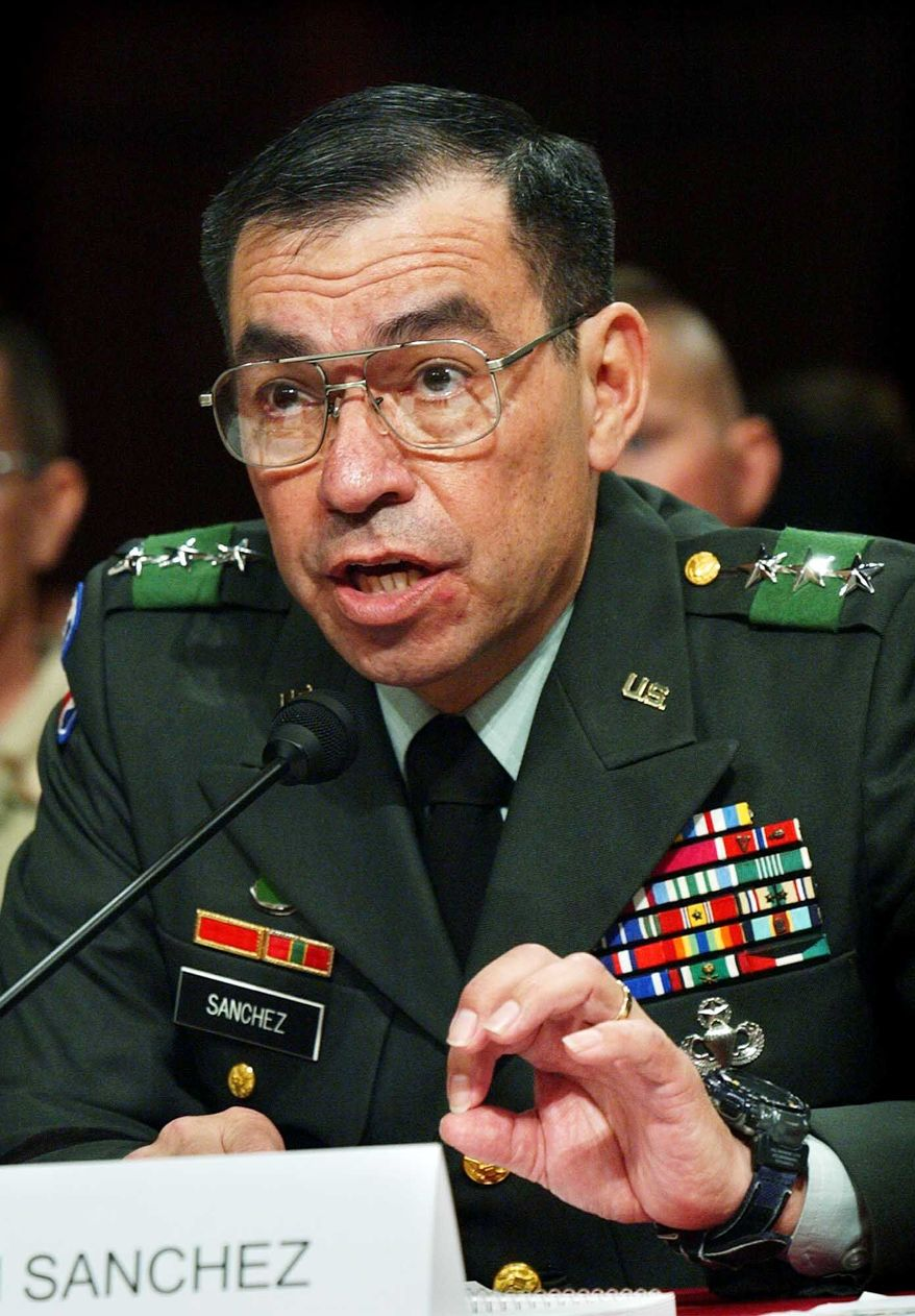 ASSOCIATED PRESS Retired Army Lt. Gen. Ricardo Sanchez, here testifying on Capitol Hill in 2004, is considering a run for the U.S. Senate from Texas.