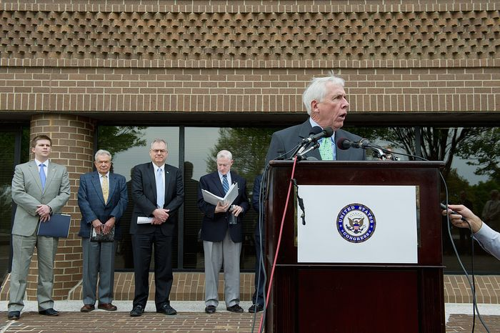 Rep. Frank R. Wolf, Virginia Republican, on Monday urges the Metropolitan Washington Airports Authority to reverse its decision to build a more costly underground Metrorail station at Washington Dulles International Airport. (Barbara L. Salisbury/The Washington Times)