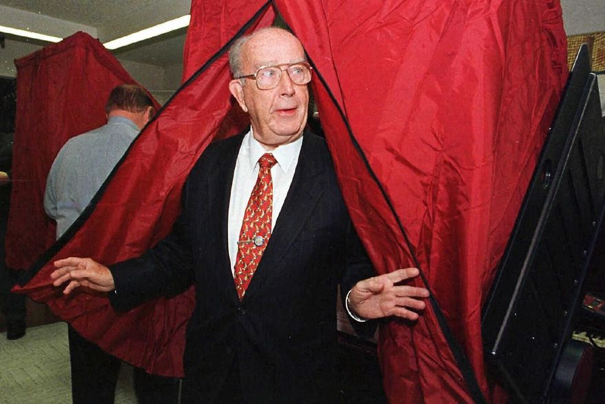 William Donald Schaefer steps out of the voting booth after casting his ballot Nov. 3, 1998, in Baltimore. Four years after vacating the governor's mansion, Mr. Schaefer returned to public office as state comptroller.