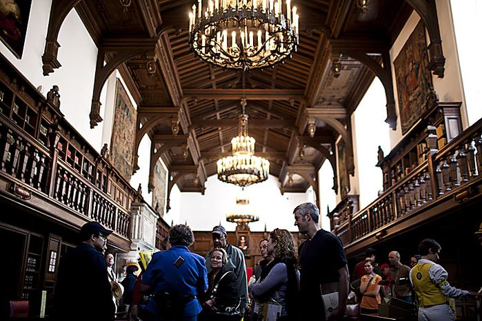 People tour the reading rooms at the Folger Shakespeare Library during an open house for Shakespeare's Birthday, in Washington, D.C., Sunday, April 17, 2011. The rooms are open to the public only once a year. (Drew Angerer/The Washington Times)