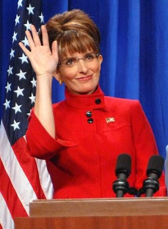 "Actress Tina Fey portrays then-Alaska Gov. Sarah Palin on ""Saturday Night Live"" on Sept. 13, 2008, shortly after Mrs. Palin's selection as the Republican vice presidential nominee. (Associated Press)"