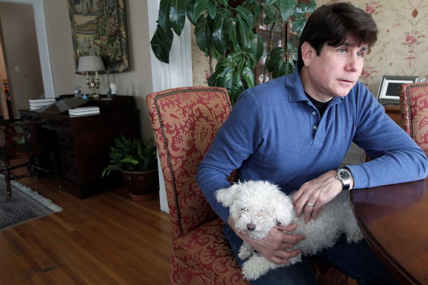 """""""To have to sit through that and hear all that again ... it's brutal, brutal,"""" Rod R. Blagojevich said with the family dog, Skittles, resting on his lap. Listening to former aides, confidants and once-close friends testify against him was particularly painful, he added. All are expected to take the stand again. (Associated Press)"""