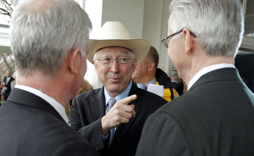 Tuesday's announcement by Interior Secretary Ken Salazar (center) that a federal agency has approved plans for the Cape Wind project off the Massachusetts coast clears the way for America's first offshore wind farm. (Associated Press)