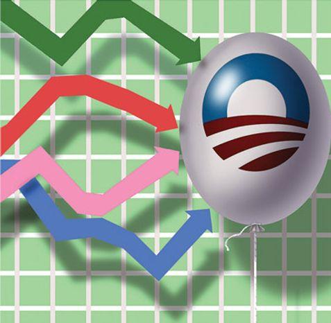 Illustration: Obama's economy by Alexander Hunter for The Washington Times