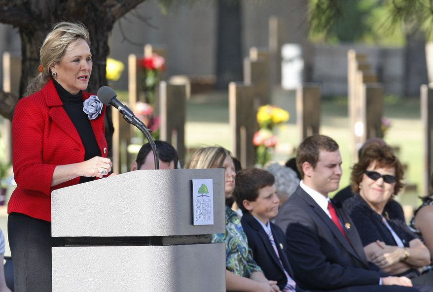 Oklahoma Gov. Mary Fallin speaks at the Oklahoma City National Memorial & Museum in Oklahoma City on Tuesday, April 19, 2011, to commemorate the 16th anniversary of the bombing of the Alfred P. Murrah Federal Building. (AP Photo/Sue Ogrocki)