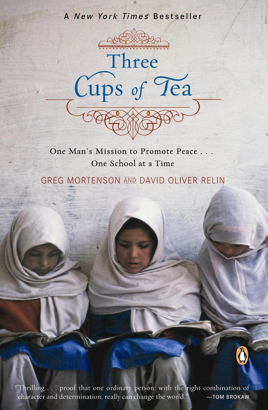 "Book cover for ""Three Cups of Tea"" by Greg Mortenson and David Oliver Relin"