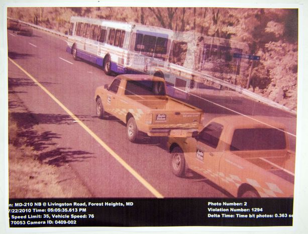 This is a copy of a composite photo made by Will Foreman from a speed camera on northbound Route 210 at Livingston Road in Forest Heights made on July 22, 2010, showing a truck owned by Mr. Foreman traveling on the road.