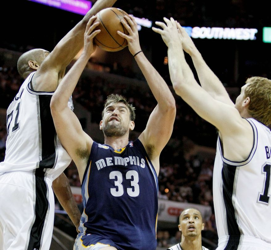 Memphis center Marc Gasol and the Grizzlies are at home and looking to take a 2-1 series lead against the San Antonio spurs, the Western Conference's No. 1 seed in the NBA playoffs. (Associated Press)